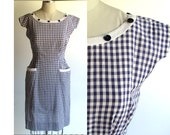 SALE..Wiggle Dress  / Vintage 50s Dress Navy & White Cotton Check / 1950s Dress / Viva Las Vegas Rockabilly Wiggle Dress / VLV / Small size