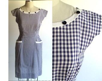 SALE..Wiggle Dress  / Vintage 50s Dress Navy & White Cotton Check / 1950s Dress / Viva Las Vegas Rockabilly Wiggle Dress / VLV / Small size