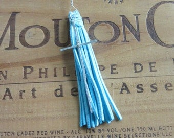 Blue Leather Tassel Necklace with Silver Cross