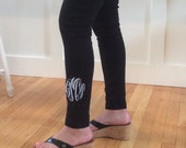 Black - SALE - PERSONALIZED Yoga Pants - embroidered - leggings - monogrammed
