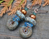 Autumn Sky, Lampwork Discs, Coppery Pearl Buttons, Ancient Roman Glass, Ceramic and Sari Silk  Earrings