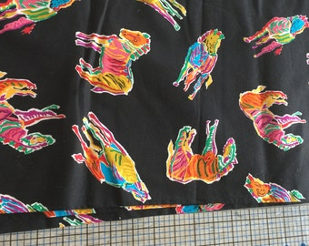 Black 100% Cotton Fabric Colorful Abstract Horses 2 2/3 Yards