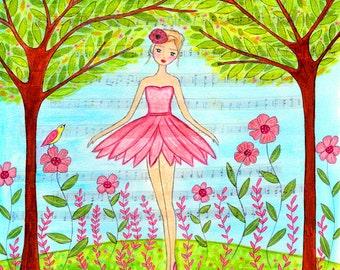 Pink Ballerina Painting Wooden Art Block Print