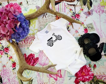 Bohemian Scooter Bodysuit, Vespa, scooter, gypsy baby outfit, white onesie, scooter baby outfit, scooter onesie, vespa onesie, block print