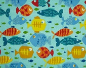 """Fish on Aqua Table Runner. 72"""" Indoor/Outdoor Table Runner. Nautical Table Runner. Summer Runner. Beach, Picnic and Clambake Runner."""