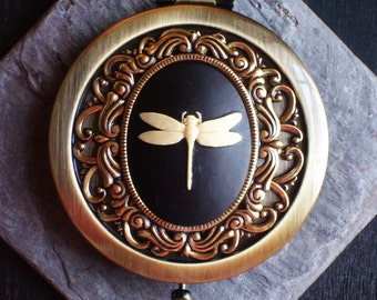 Dragonfly cameo compact mirror, antique brass compact mirror,  bronze mirror, bridesmaid gift, holiday gift ideas, unique Christmas gift