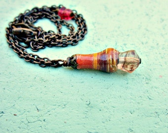 Salvaged Paper and Glass Pendant on Rustic Brass Adjustable Chain Necklace: Vera