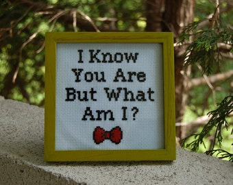 Pee Wee Herman I Know You Are But What Am I Cross Stitch Framed & Finished Green Frame