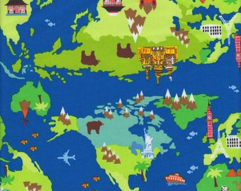 Timeless Treasures Small World in Blue - Half Yard