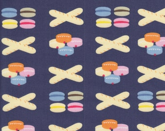 Dear Stella Designs French Lessons Patisserie in Navy - Half Yard