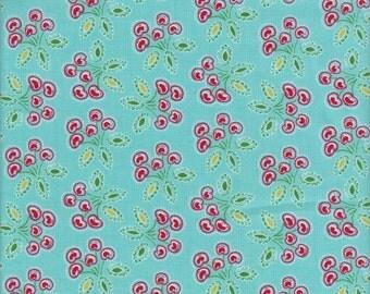 Free Spirit Fabrics Dena Designs Love & Joy Cherry in Aqua - Half Yard