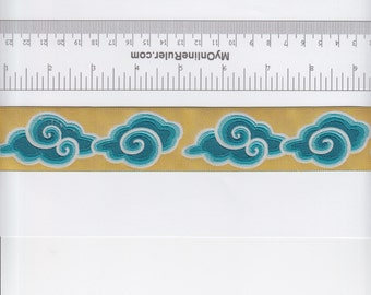 Renaissance Ribbons Kaffe Fassett Clouds Ribbon in Teal - Half Yard
