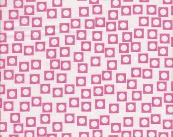 Moda Fabrics Sherbet Pips Circle in Square in Bubblegum - End of Bolt - Last 35 Inches