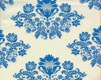 SALE - Moda Fabrics Summer House Damask in Blue and White - End of Bolt - Last Yard in Stock