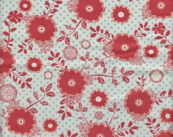 Moda Fabrics PB & J Red Floral on Blue and Ivory Polka Dots - Half Yard