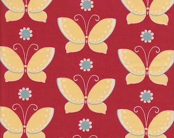 Moda Fabrics Freebird Butterflies and Flowers on Geranium - Half Yard