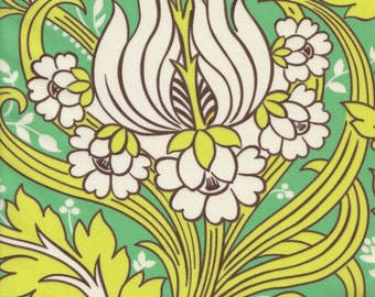 Amy Butler Soul Blossoms Temple Tulip in Emerald LAMINATED FABRIC - End of Bolt - Last 33 Inches