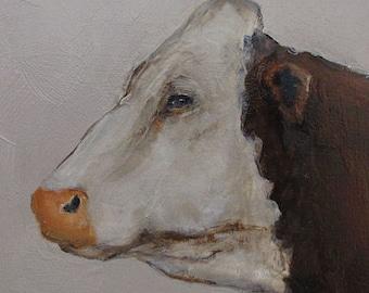 "COW""HEADED WEST"" Farm Folk art -  Giclee print from my original oil painting - Cow Art"