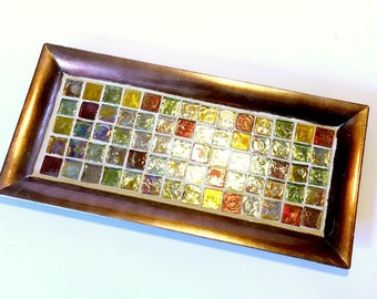 Copper Mosaic Tray, Beach Glass Vanity Tray, Mosaic Candle Tray, Votive Holder Tray, Mosaic Candle Stand, Dresser Caddy, Perfume Caddy