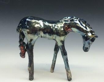 Metallic Blue Raku Horse 608