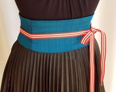 Turquoise Dupioni Silk Obi Belt Corset Waist Cincher Any Size