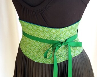 Tile Green Corset Waist Cincher Belt - Any Size Lace Up