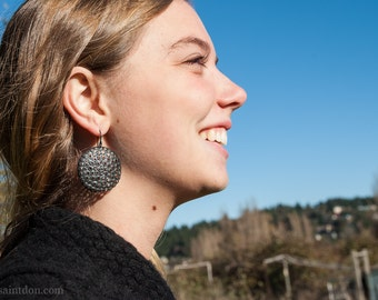 Large, round silver dangle earrings/ Oxidized sterling/ Big, bold black earrings modern women/ Unique statement maker/ Silver gift for her