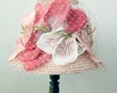 1960s Pink Straw Toque Huge Flowers