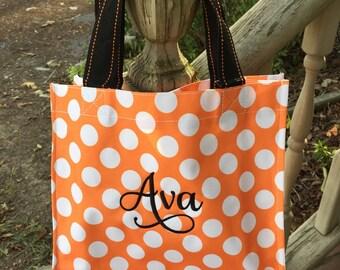Orange Dot Halloween Bag-Candy Bag-Monogram included