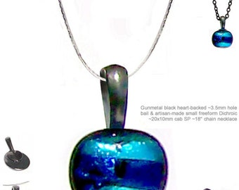MERZIEs gunmetal DICHROIC glass freeform cab artisan pendant silver plated achain necklace #2 - SHIPs from USA - Combined Shipping