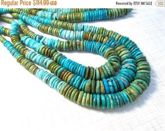 25% Off SALE Vivid Kingman Arizona Turquoise Rondelle Beads , Rainbow Turquoise Colorado Green Turquoise , 6mm 8mm  10mm 12mm 14mm Beads