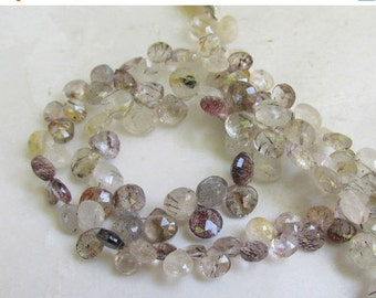 Summer Sale Natures Artwork Mix Moss Amethyst Gold Tourmalated Rutilated Quartz Briolette Beads 8 Inches