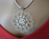 Handmade Necklace, Crocheted Flower Pendant, Beaded Pendant, Winter White Choker, Gift Ideas, Pendant Necklace, Gifts for Her One of a Kind