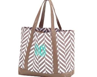 HOLIDAY SALE - Herringbone Classic Tote Bag Personalized