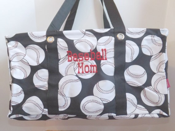 Baseball Print Large Utility Tote Personalized With By