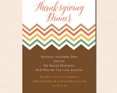 Fall Chevron - Thanksgiving Dinner Invitation (Digital File OR Printed Cardstock Cards Are Available)