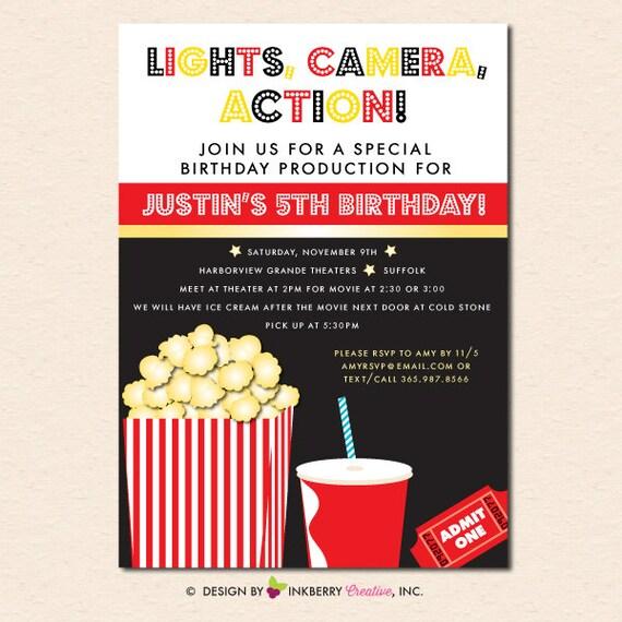 Movies popcorn birthday party invitation digital file or il570xn filmwisefo