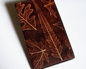 Leather Checkbook Cover with Leaf Design - Leather Checkbook Holder