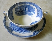 2 pc English Transferware Old Britain Castles, Two Handle Soup Bowl - Johnson Bros. England - Blue White Toile - Vintage  Bowl with Saucer