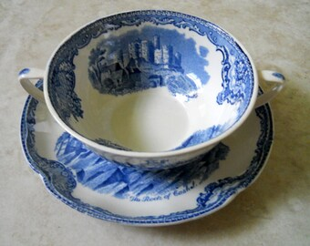 2 pc English Transferware Old Britain Castles, Two Handle Soup Bowl - Johnson Bros. England - Shabby Mix and Match Bowl with Saucer