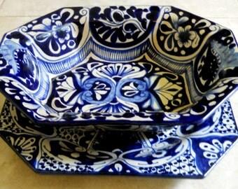 SALE 2 pc Talavera Bowl and Platter Set - Cobalt Blue White Serving Bowl and Cake Plate, Pottery Kitchen Ceramic Art Pottery, Artist Signed