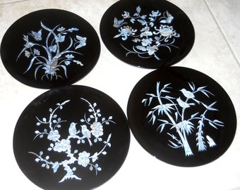 set of 4 Chinoiserie Mother of Pearl Inlay Black Lacquer Plates - Asian Plates - Japanese Decor - Dining Display Plate - Bird Chinese Art