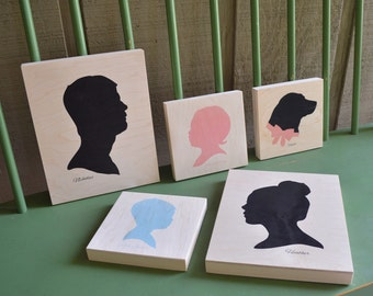 Custom Silhouette Portrait Mounted on Birch Wood Panel