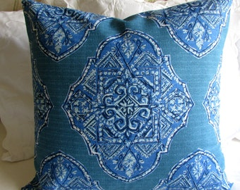 24x24 MALTA CYAN  large PILLOW cover