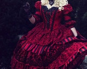 In Stock!  Gothic Victorian Steampunk Red Black 3 Piece Set One of a Kind!  Size Medium