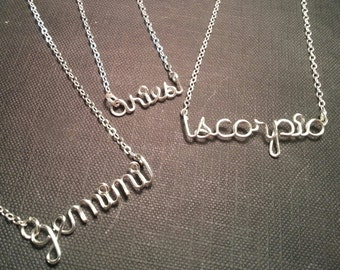 Zodiac Wire Name Necklace