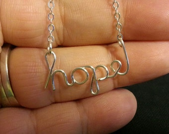 "Silver Wire ""hope"" Necklace"