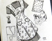 1940s Vintage Apron Sewing Pattern - Anne Adams Instructor 4586 - Bib Pinafore APRON Heart Pockets / Small 32-34 Bust