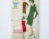 1960s Vintage Vogue Sheath Dress with Scarf One Piece Dress / Size 12 Bust 32