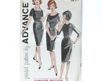 1960s Sheath Dress Bombshell Wiggle Dress with Belt, Square Neckline or Scoop Neckline / Advance 9703 / Size 9 Junior Petite